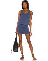 Bobi Draped Modal Jersey Mini Dress - Blue