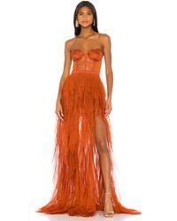 For Love & Lemons Вечернее Платье Bustier В Цвете Ржавый - Оранжевый
