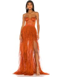 For Love & Lemons Vestido largo bustier - Naranja