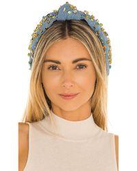 Lele Sadoughi Banda pelo denim candy jeweled knotted - Azul