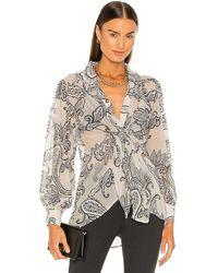 Line & Dot Isabel Paisley Print Tie Blouse - White