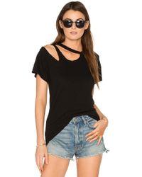 LNA T-Shirt Encolure Asymétrique Découpée - Noir