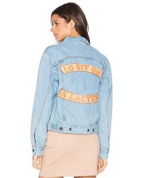 Urban Outfitters Go Sit On A Cactus Denim Jacket - Blue