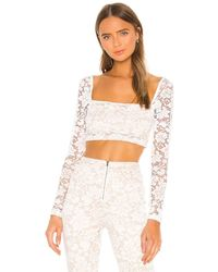 superdown Justene Sheer Lace Top - White
