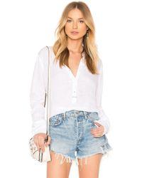 Stateside - Collarless V-neck Shirt In White - Lyst