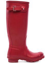 HUNTER Original Tall Gloss Boot - Red