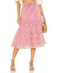Cleobella Юбка Chelsea В Цвете Wildflower Block Print - Розовый