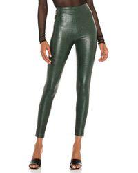Commando Faux Leather Animal Legging - Green