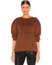 AllSaints - Свитшот Veda Iona В Цвете Светло-коричневый Коричневый - Lyst