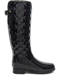 HUNTER Refined Quilted Tall Welly - Black