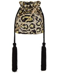 OLGA BERG Kezzie Leopard Sequin Drawstring Pouch Bag - Mettallic