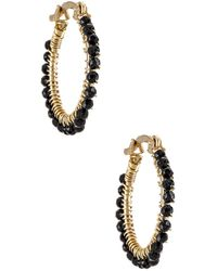 Mercedes Salazar Florecitas Hoop Earrings - Black