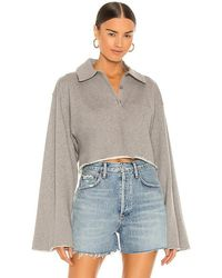 L'academie Collared Button Up Top - Grey