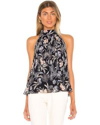 1.STATE Floral Print Pleated Top - Blue
