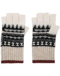 White + Warren - Fair Isle Fingerless Gloves In Gray. - Lyst
