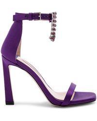 Stuart Weitzman - Fringe Square Nudist Heel In Purple - Lyst