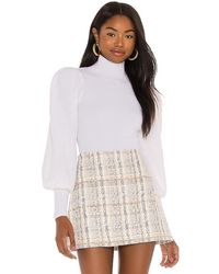 Alice + Olivia Babette Turtleneck Puff Sleeve Ribbed Pullover - White