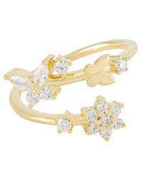 ADINAS JEWELS Butterfly X Flower Wrap Ring - Metallic
