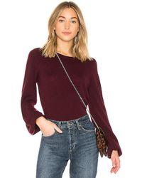 Autumn Cashmere - Bishop Sleeve Crew Sweater In Wine - Lyst