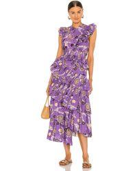 Ulla Johnson Платье Ruffle Aurore В Цвете Цинния - Пурпурный