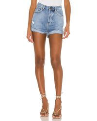 One Teaspoon Bandits High Waist Denim Short - Blau