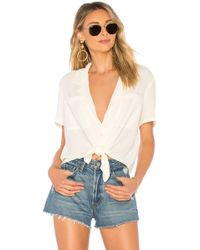 1.STATE - Ss Tie Front Button Down Blouse - Lyst