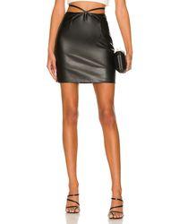 Bardot Strappy ヴィーガンレザーミニスカート - ブラック