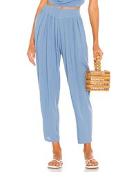 Indah Tanah Solid 80s Pleated Trouser - Blue
