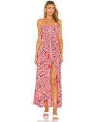 Tiare Hawaii Макси Платье Ryden В Цвете Floral Dot Red - Красный