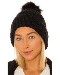 Hat Attack Tahoe Faux Fur Pom Beanie - Black