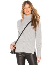 Bobi - Ribbed Turtleneck Sweater In Gray - Lyst