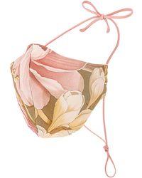 GRLFRND Silk Floral Mask - Pink