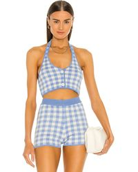 MAJORELLE Addy Cropped Halter Top - Blue