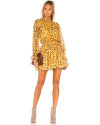 Tularosa Платье Camden В Цвете Golden Rose Floral - Yellow. Размер L (также В Xxs). - Желтый