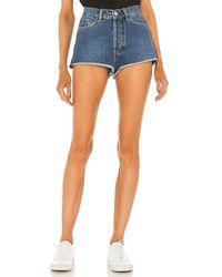 Rag & Bone Maya High Waist Raw Hem Cutoff Denim Hot Shorts - Blue