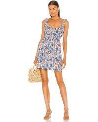 Line & Dot Sunday ドレス - ブルー