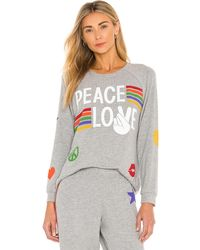 Lauren Moshi Every Peace Love Stripes Pullover - Gray