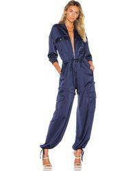 Kendall + Kylie Satin Convertible Cargo Jumpsuit - Blue