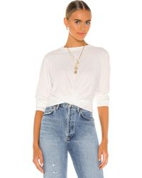 Pam & Gela Long Sleeve Twist Front Top - White