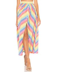 MDS Stripes - Button Front Skirt In Multi - Lyst