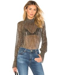 L'Agence - Paola Blouse In Metallic Gold - Lyst