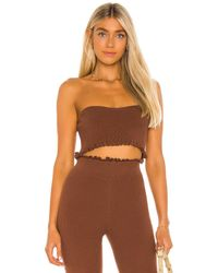 MAJORELLE Cropped Sweetheart Ribbed Tube Top - Brown
