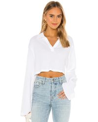 The Range Stark Waffle Knit Cropped Polo - White