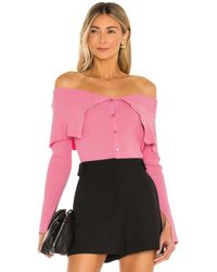 MILLY Off The Shoulder Rib Cardigan - Pink