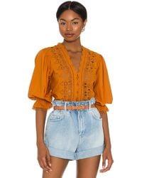 Free People Louella Embroidered Top - Orange