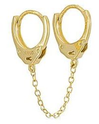 ADINAS JEWELS Handcuff Chain Huggie Earring - Metallic