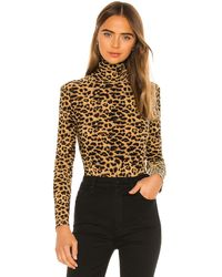 Norma Kamali Боди Turtle В Цвете Golden Leopard - Tan. Размер M (также В S,xs). - Многоцветный