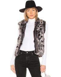 Adrienne Landau - Animal Printed Fur Vest In Gray - Lyst