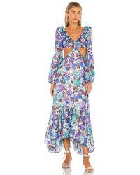 PATBO Blossom Cut Out Beach Dress - Blue