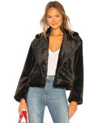 Vince - Plush Faux Fur Coat In Black - Lyst